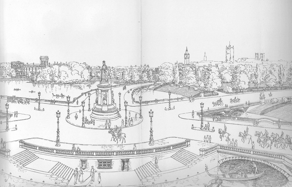 "Arthur Cawston illustration of the proposed new roundabout in St James's Park, ""Looking East from Existing Lake"""