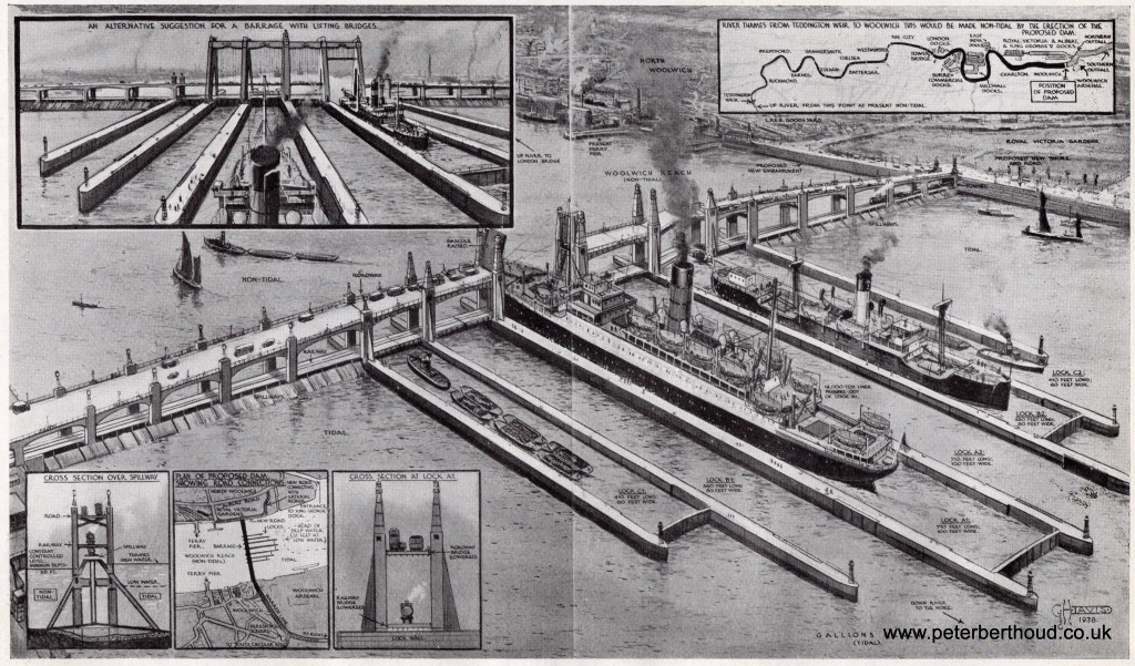 The Proposed Thames Barrage, A Dam at Woolwich – 1935