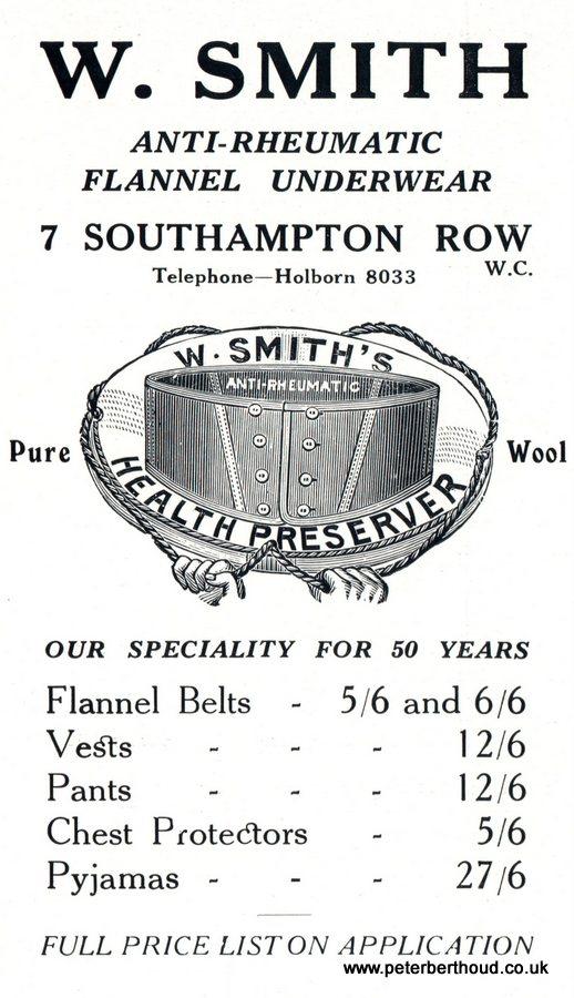 W Smith Anti Rheumatic Flannel Underwear