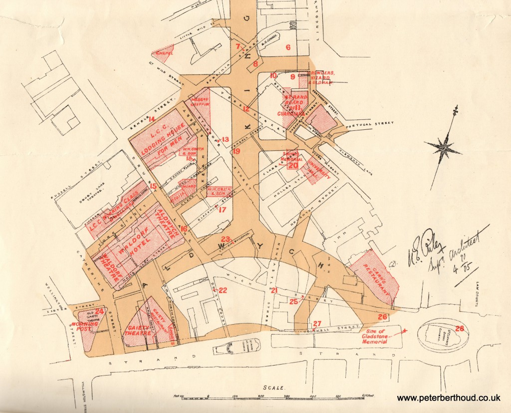 Map showing part of the Kingsway & Aldwych development of 1905