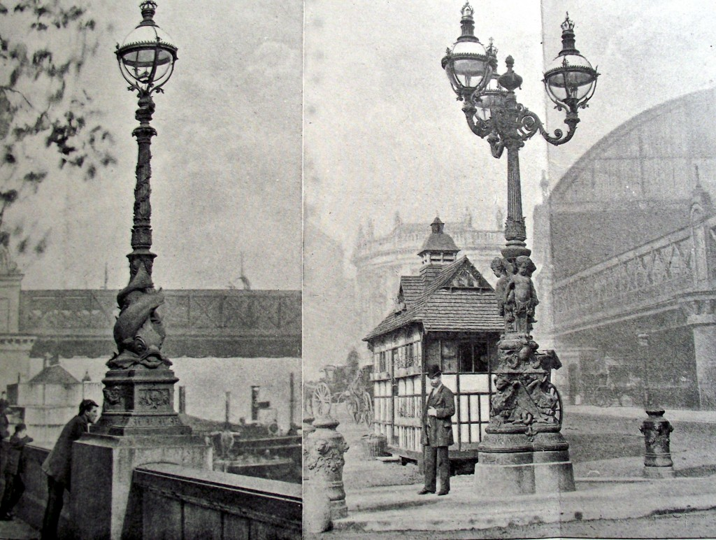 "Arthur Cawston's ideal ""Lamp-posts of twenty years ago on The Embankment"""