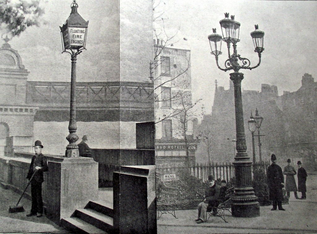"""Lamp-posts of today on the Embankment and near Shaftesbury Avenue"""