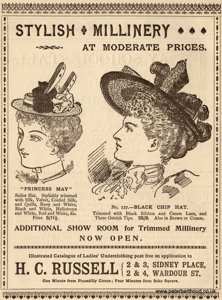Millinery from H. C. Russell of Sidney Place & Wardour Street