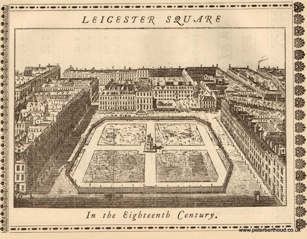 A view of Leicester Square in the Eighteenth Century