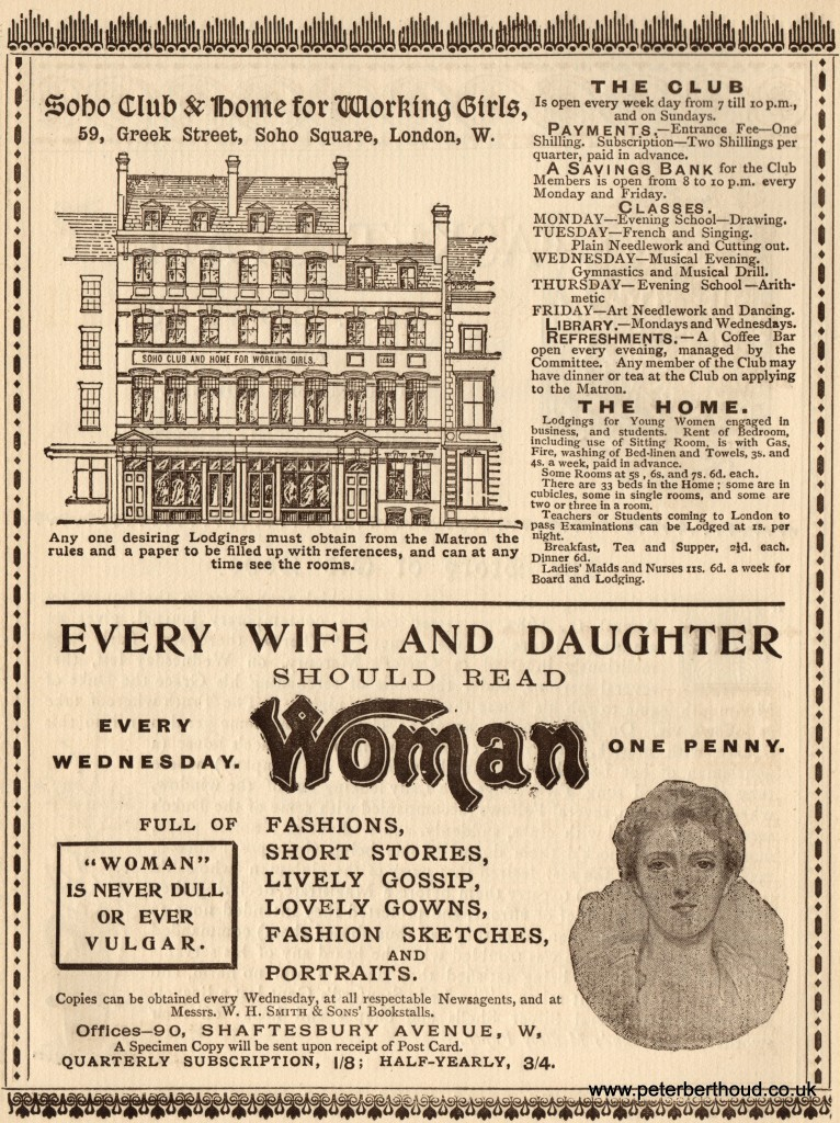 "Half-page ads for the ""Soho Club & Home for Working Girls"" & Woman magazine."