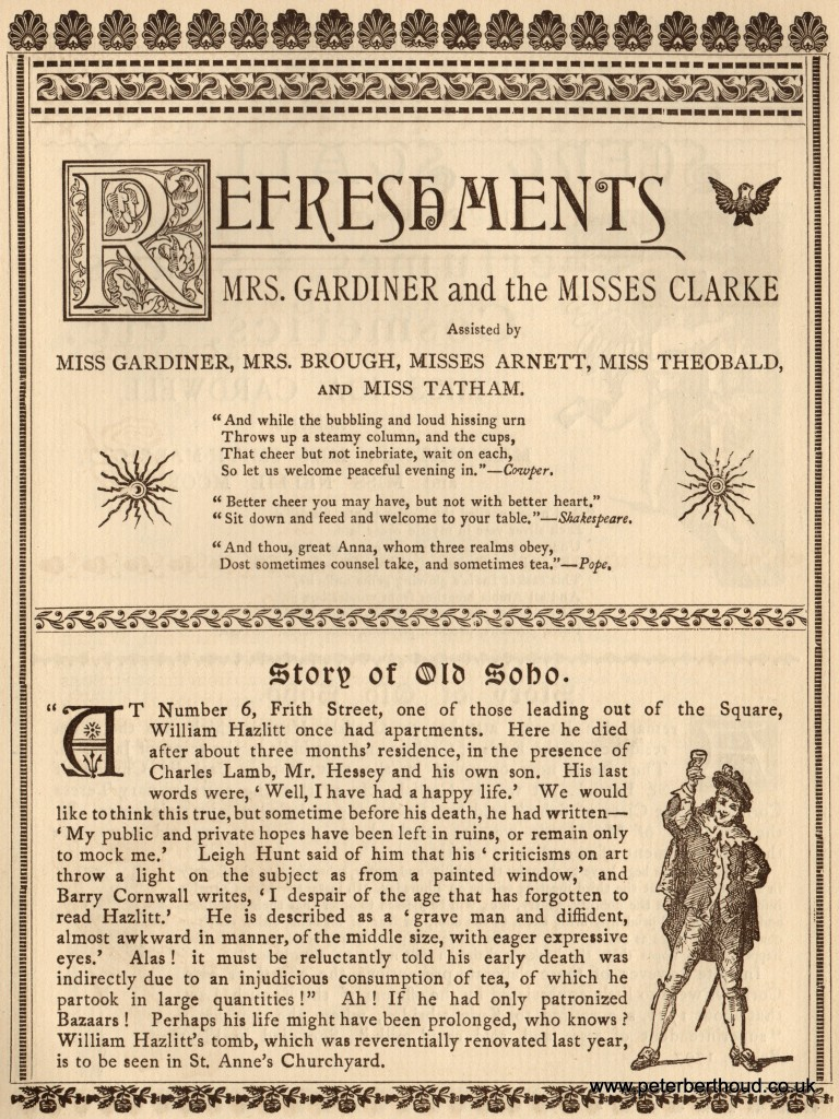 An advertisement for the refreshment stall and a little Soho history.