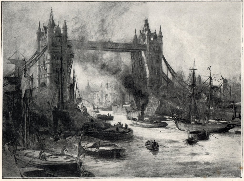 The Tower Bridge from a drawing by C.W.Wyllie 1894