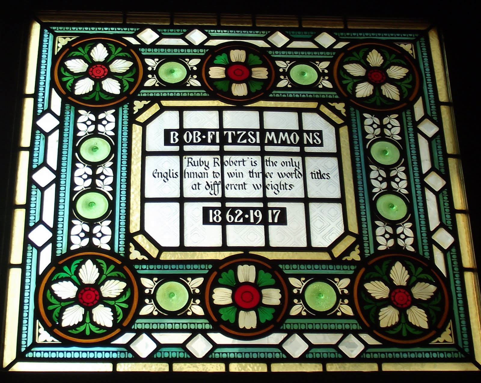 Bob Fitzsimmons stained glass at the Champion pub