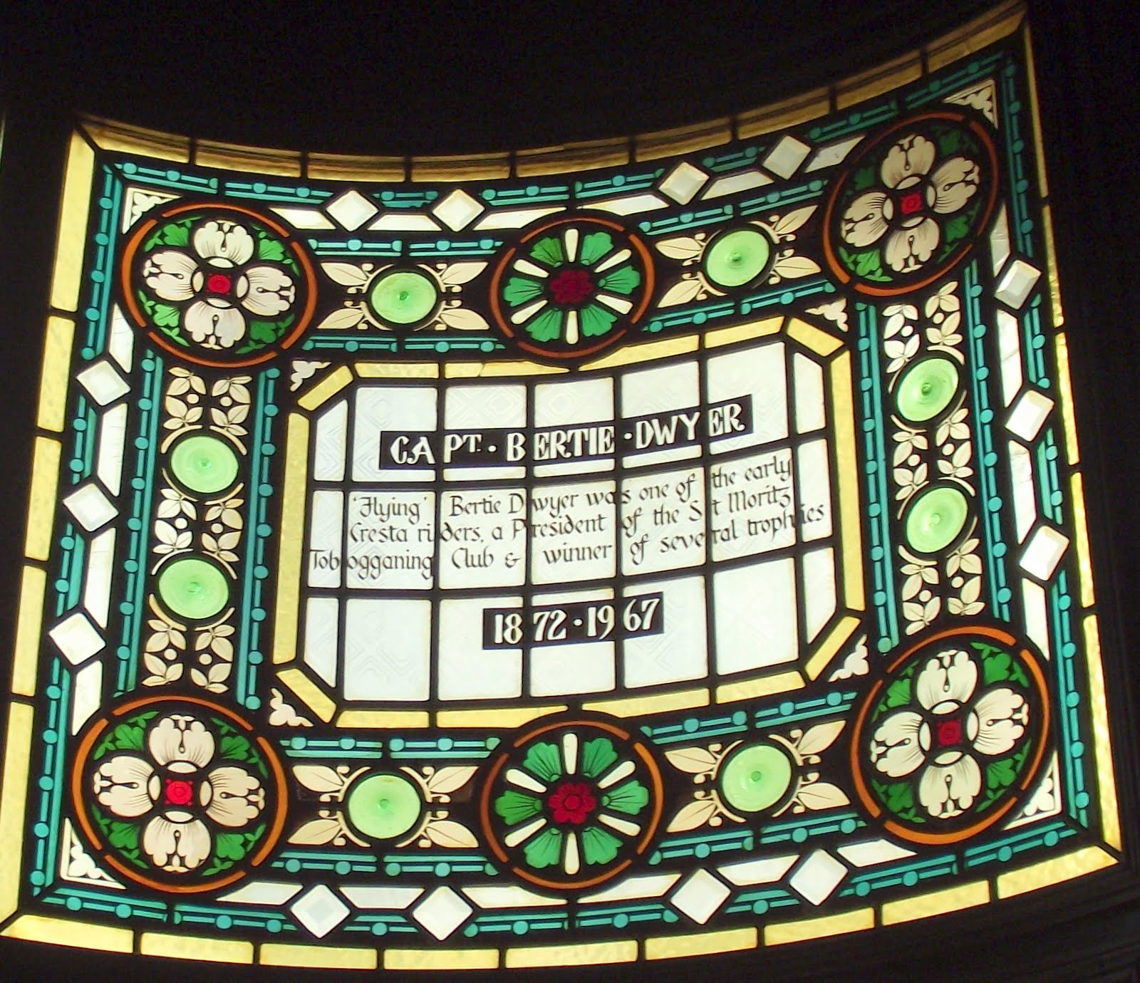 Capt Bertie Dwyer stained glass at the Champion pub