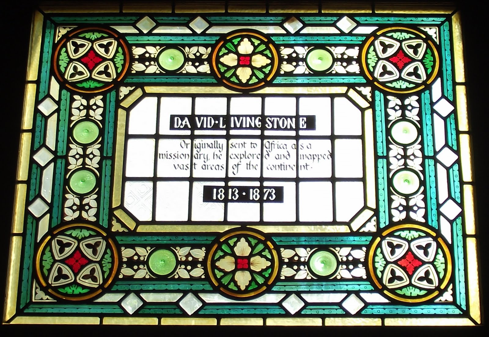 David Livingstone stained glass at The Champion pub