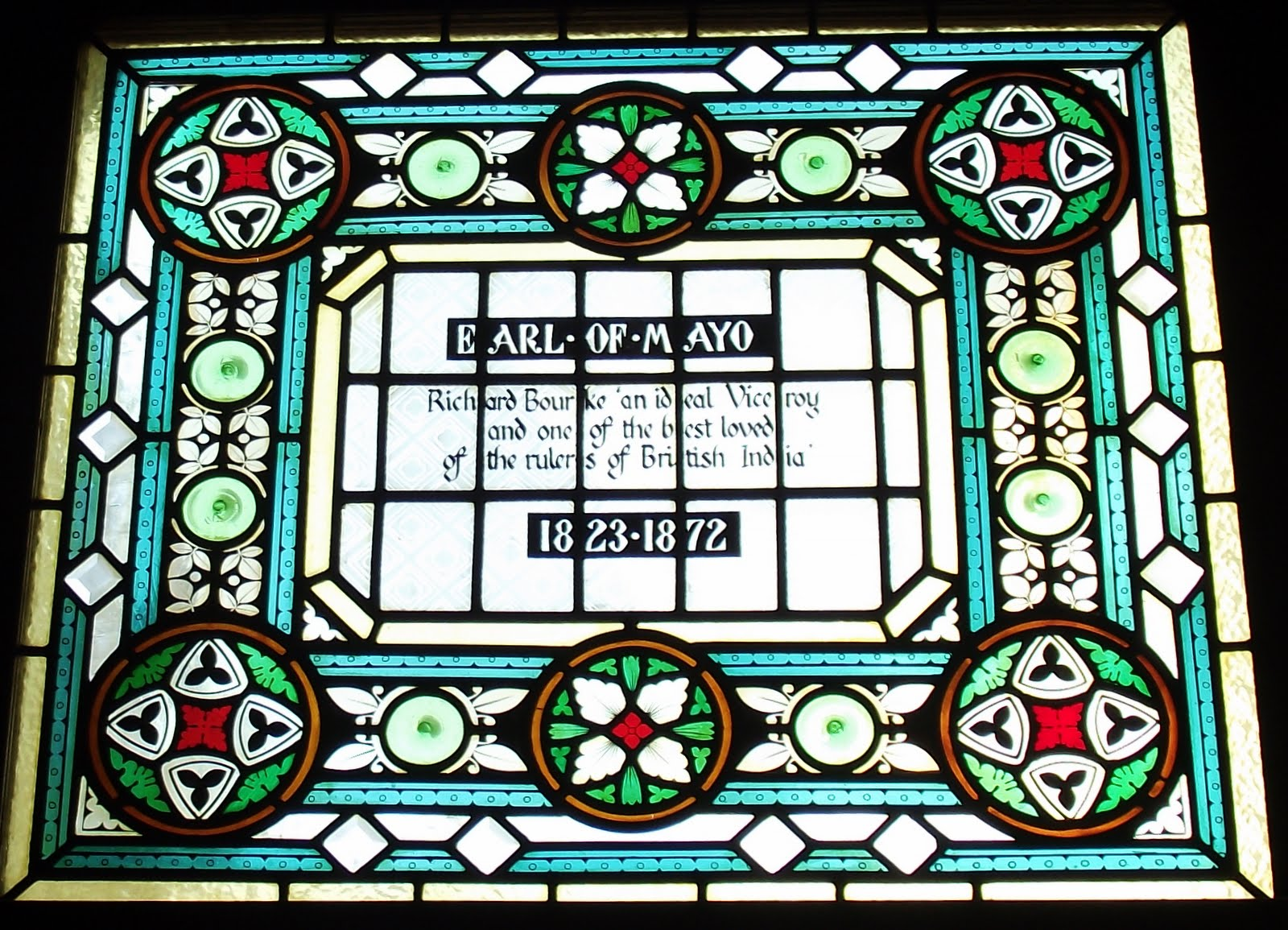 Early of Mayo RIchard Bourke stained glass at the Champion pub