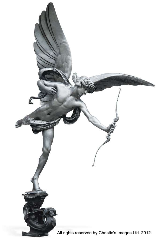 A FULL-SCALE ALUMINIUM REPLICA OF 'EROS' CAST BY THE MORRIS SINGER FOUNDRY FROM THE MODEL BY SIR ALFRED GILBERT MVO RA (1854-1934)