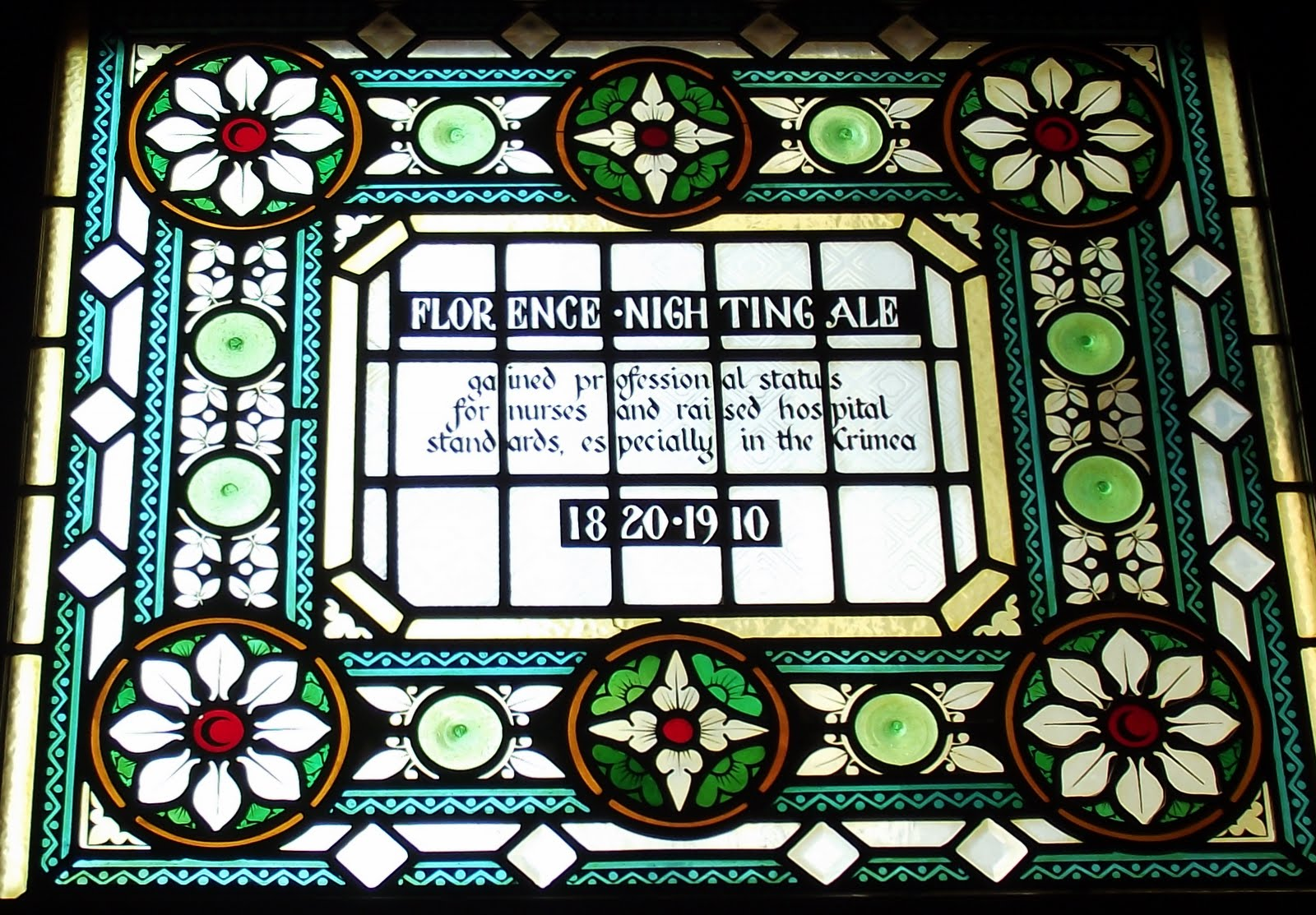 Florence Nightingale stained glass at the Champion pub