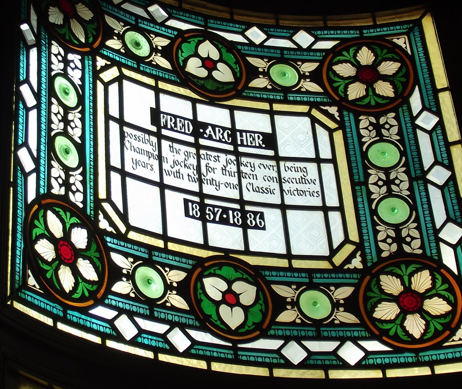 Fred Archer stained glass at the Champion pub