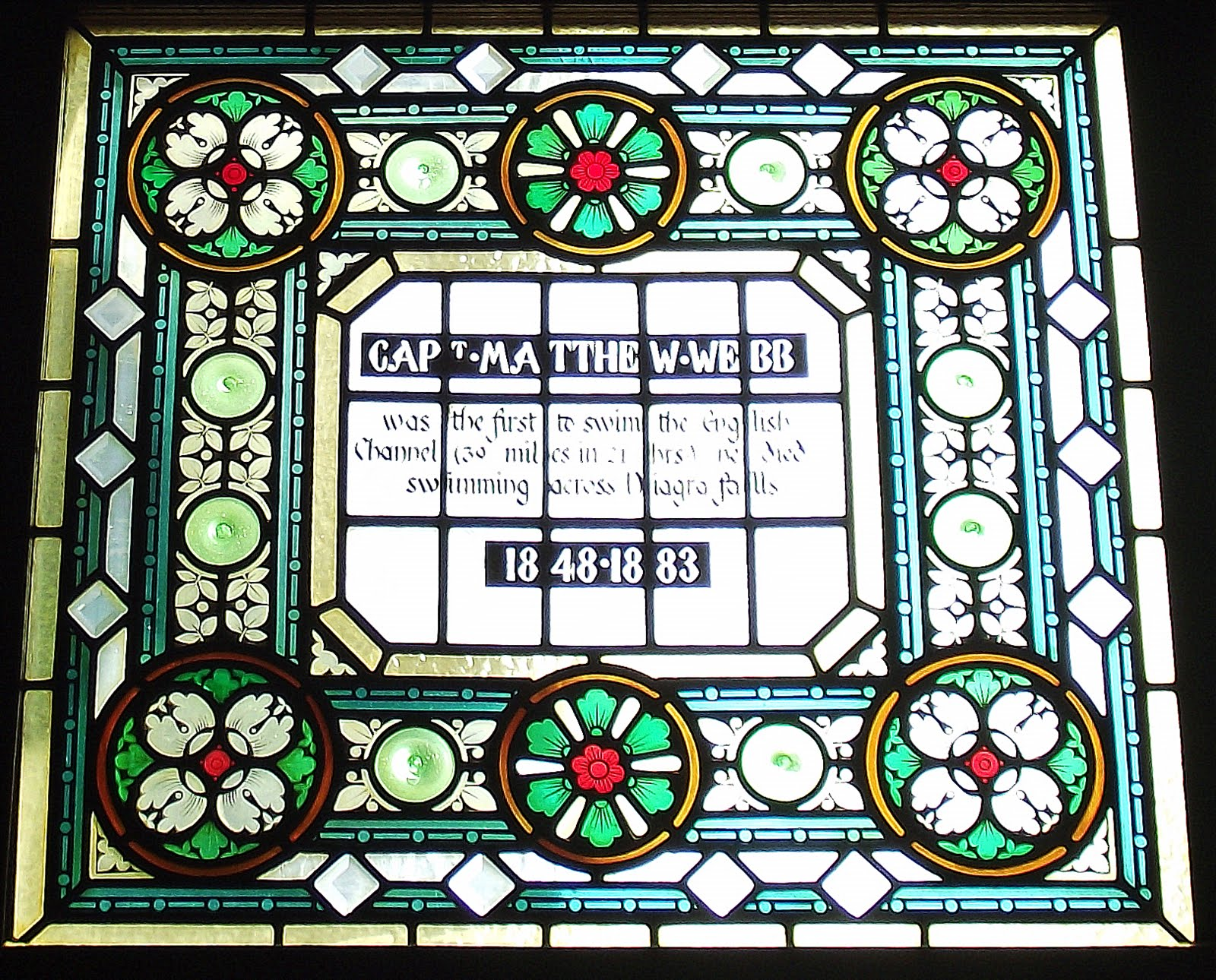 Matthew Webb stained glass at The Champion Pub