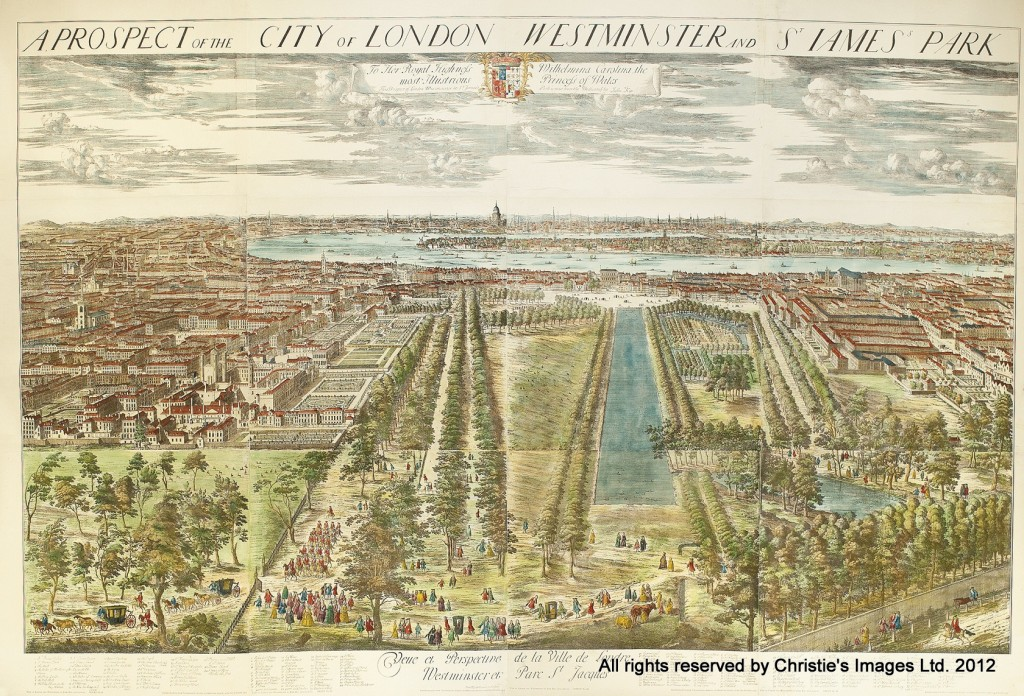 A Prospect of the City of London Westminster and St James's Park. After Johannes Kip