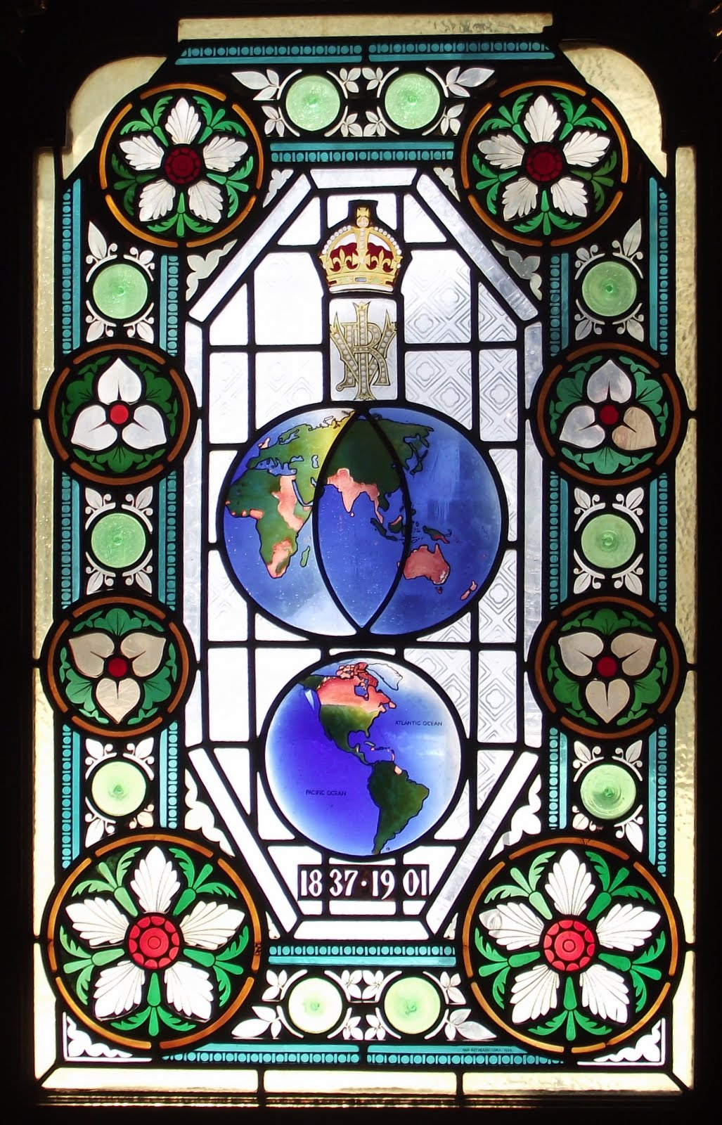 Queen Victoria's Reign stained glass at The Champion Pub