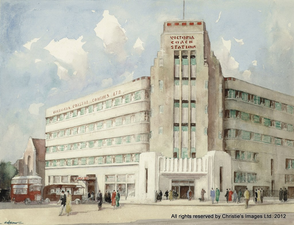 The Passing Show; Victoria Coach Station by Edith Mary Garner (b. 1881)