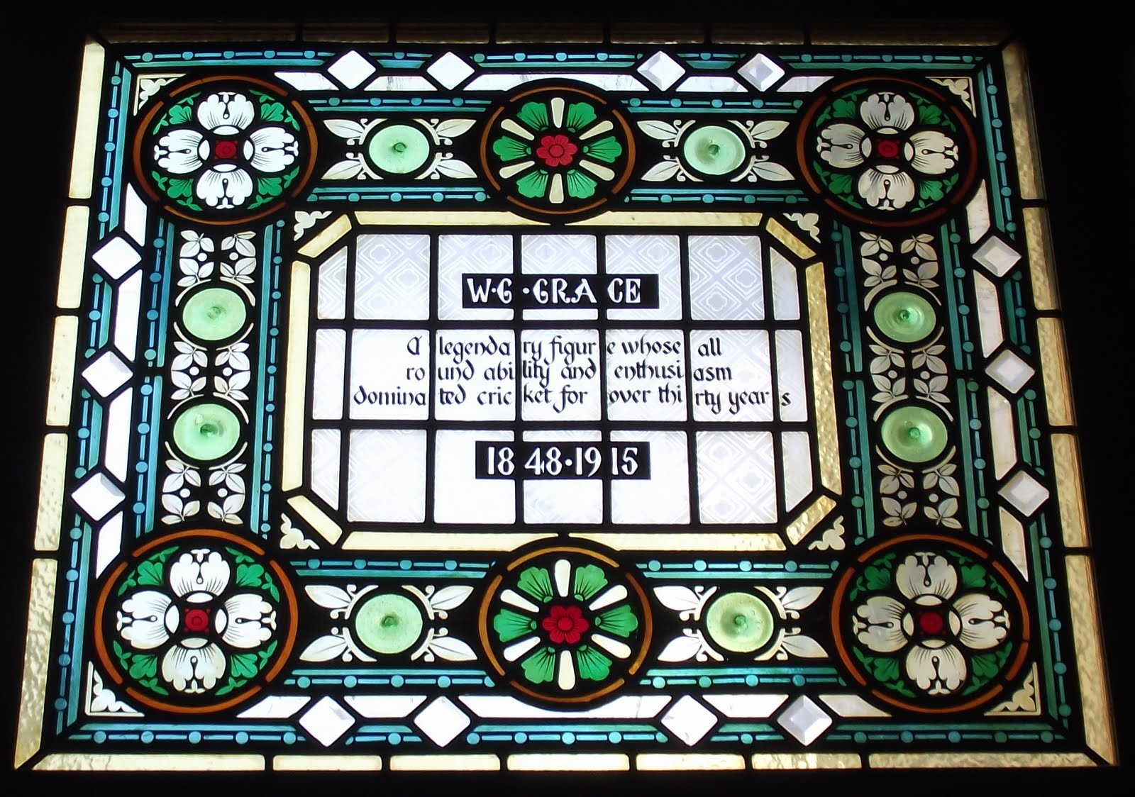 WG Grace stained glass at the Champion pub