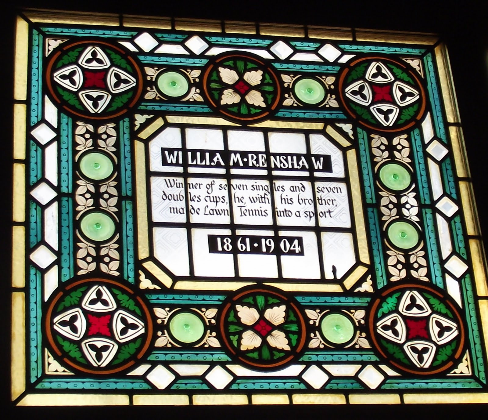 William Renshaw stained glass at the Champion pub