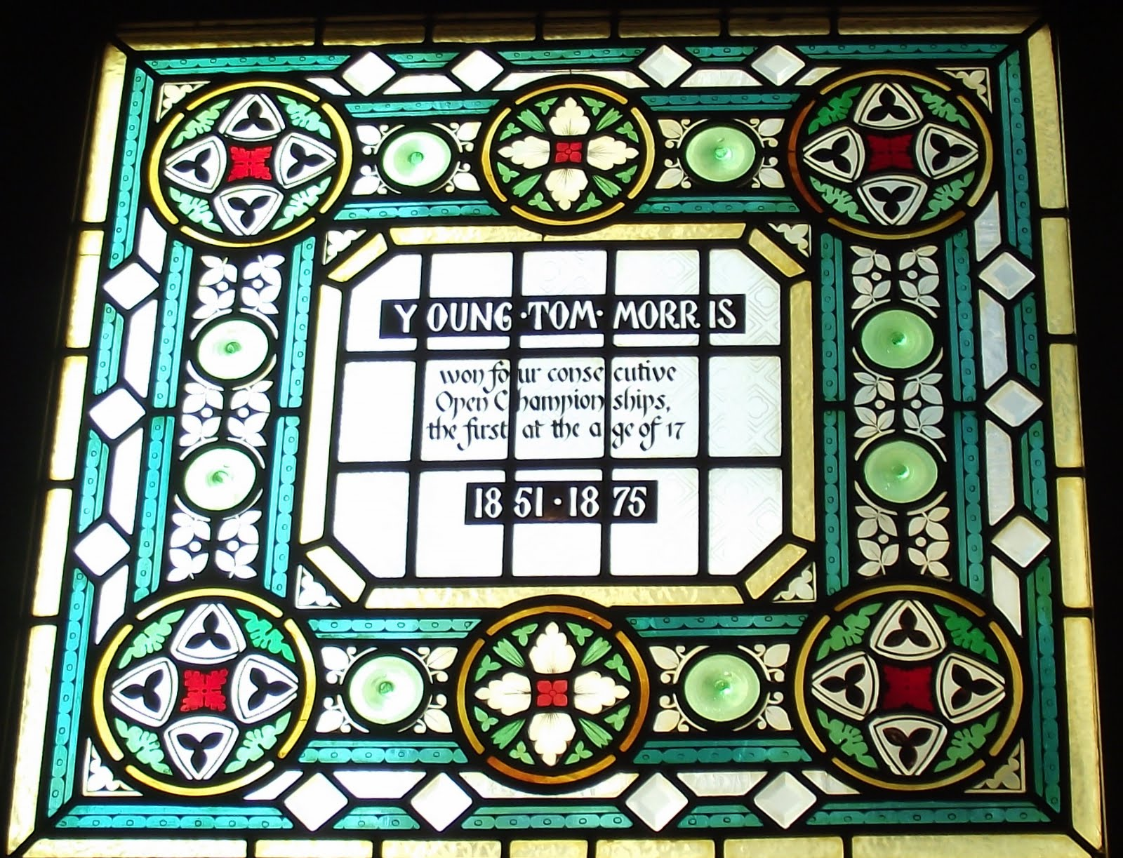 Young Tom Morris stained glass at the Champion pub